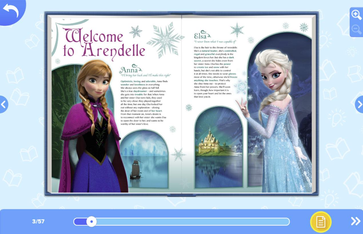 RakutenABCmouseアナと雪の女王のデジタル絵本紹介画面